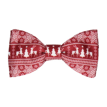 Festive Fair Isle Burgundy Christmas Bow Tie