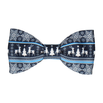 Festive Fair Isle Navy Blue Christmas Bow Tie