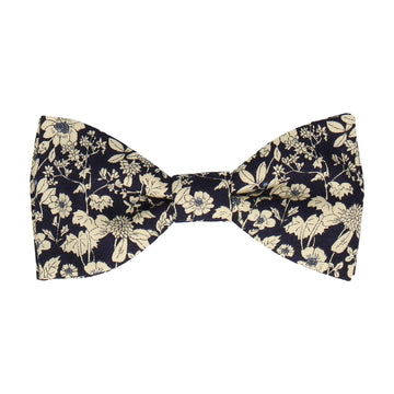 Navy Blue Floral Cotton Bow Tie