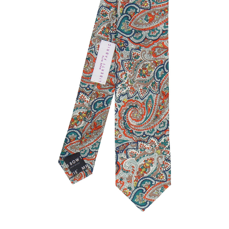 Teal & Orange Paisley Tessa Liberty Cotton Tie