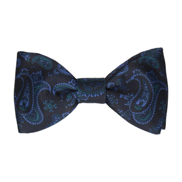 Midnight Blue Stylish Paisley Bow Tie