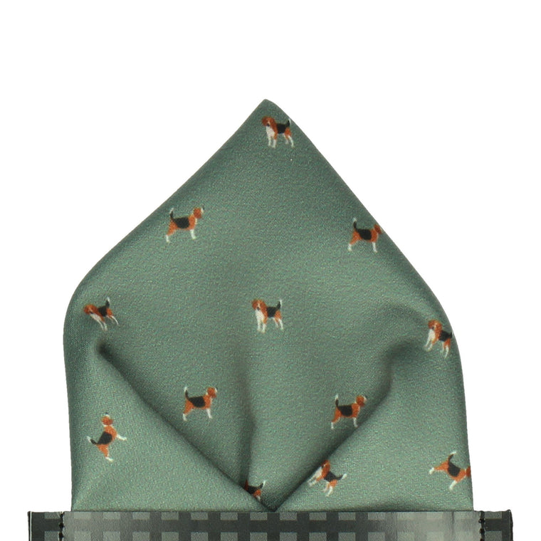 Country Green Beagles Print Pocket Square