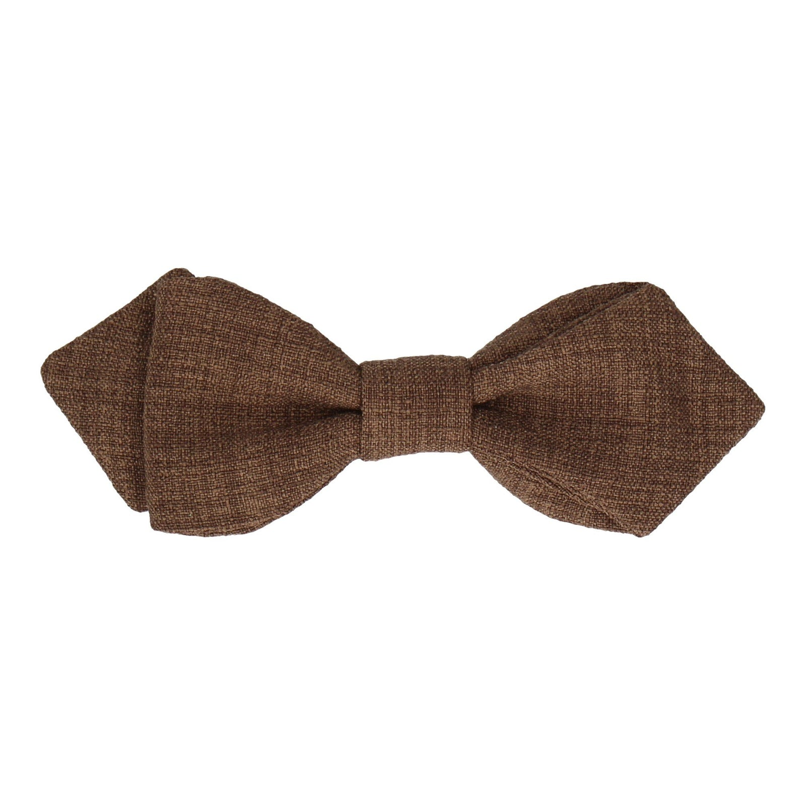 Pecan Brown Textured Cotton Linen Bow Tie