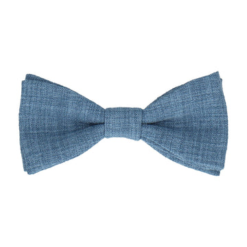 Blue Textured Cotton Linen Bow Tie