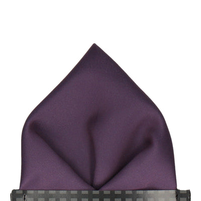 Plain Solid Aubergine Purple Pocket Square