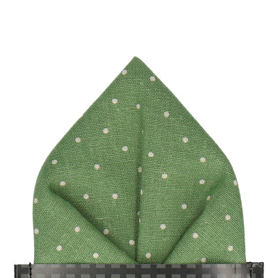 Green Dots Cotton Linen Pocket Square