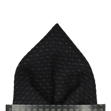Black Thick Wool Pocket Square