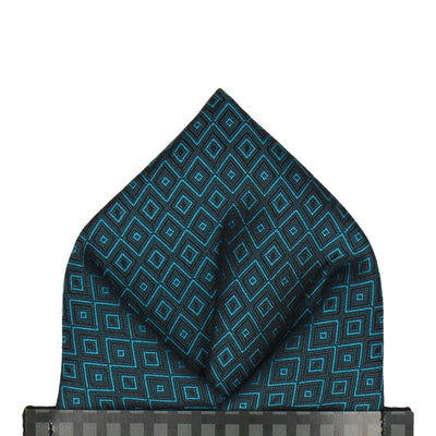 Jacquard Diamond Teal Blue Pocket Square