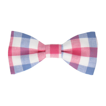 Pink & Navy Blue Check Plaid Bow Tie