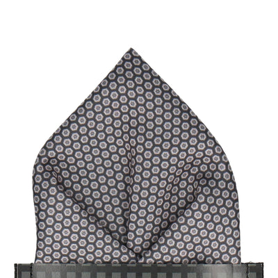 Dark Grey Hexagon Pattern Pocket Square