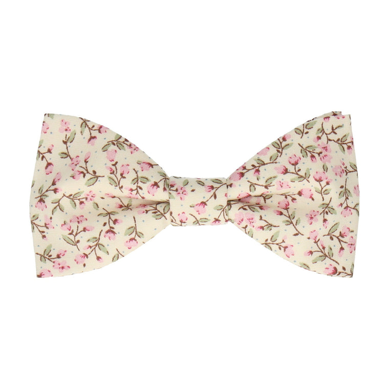 Pink & Vintage White Ditsy Floral Bow Tie