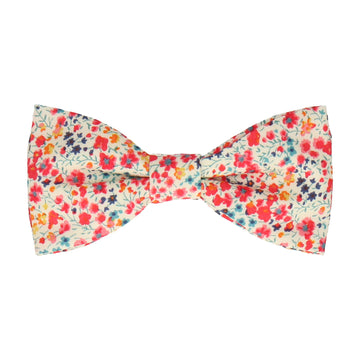Busy Coral Floral Liberty Cotton Phoebe Bow Tie