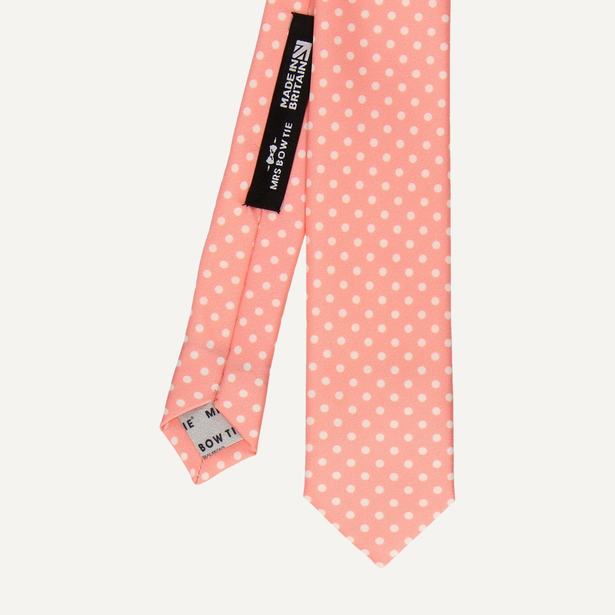 White Dots in Soft Coral Tie