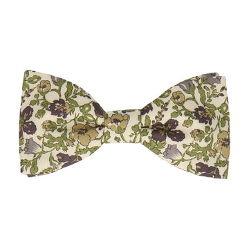 Green Floral Meadow Liberty Cotton Bow Tie