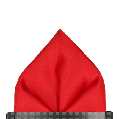 Vermillion Red Solid Plain Satin Pocket Square