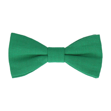 Green Plain Textured Cotton Bow Tie