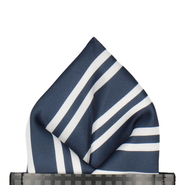 Navy & White Double Stripe Pocket Square