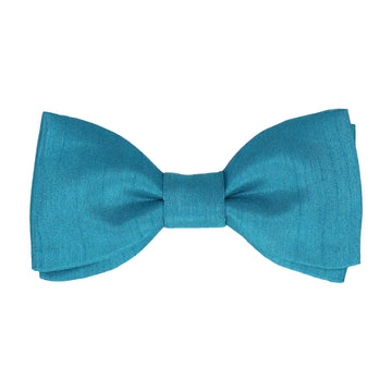 Peacock Blue Faux Silk Bow Tie