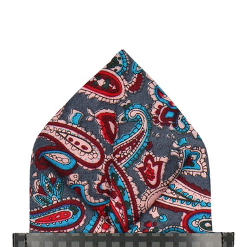 Blue Traditional Paisley Cotton Pocket Square