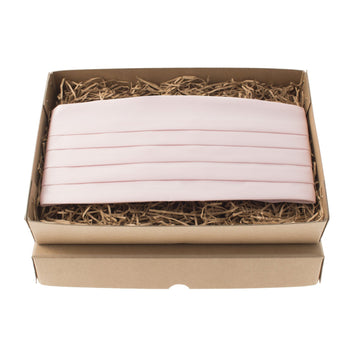 Solid Plain Pale Pink Satin Cummerbund