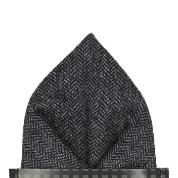 Faux Tweed Navy Blue Pocket Square