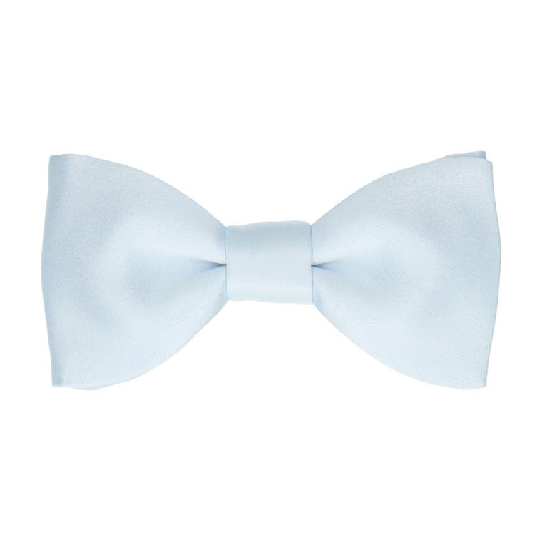 Satin Plain Solid Ice Blue Bow Tie