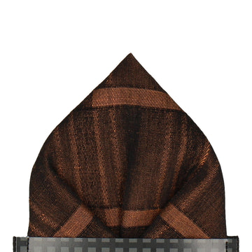 Bronze Subtle Plaid Pocket Square