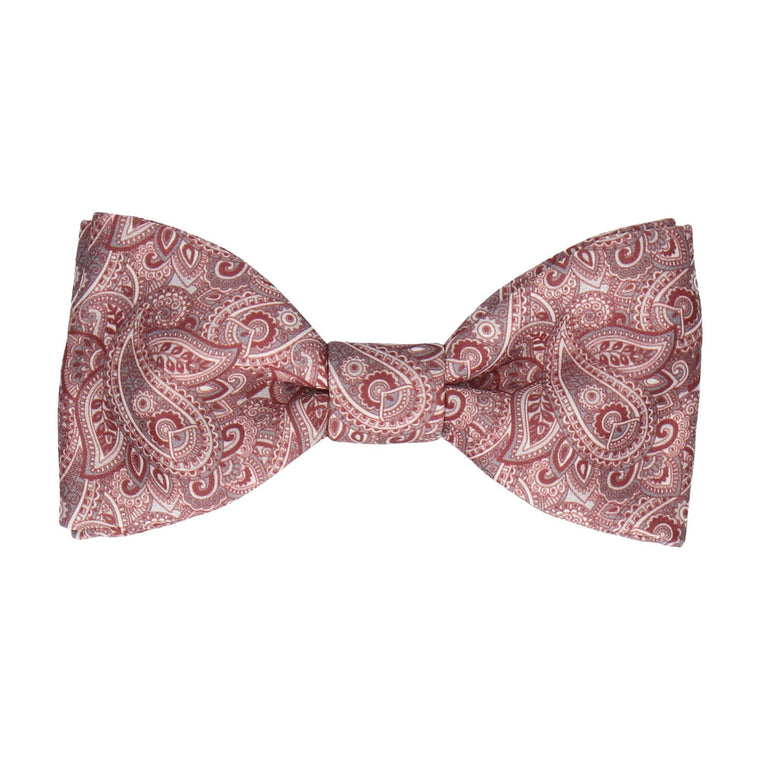Burgundy Red Paisley Bow Tie