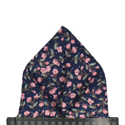 Navy Blue & Pink Ditsy Floral Pocket Square