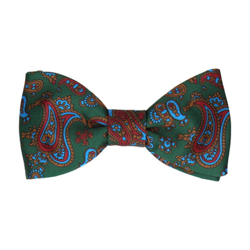 Dark Green Stylish Paisley Bow Tie