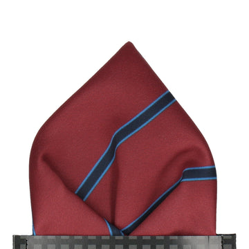 Damson Red & Navy Regimental Stripe Pocket Square