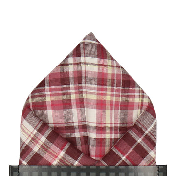 Burgundy Cotton Plaid Tartan Pocket Square