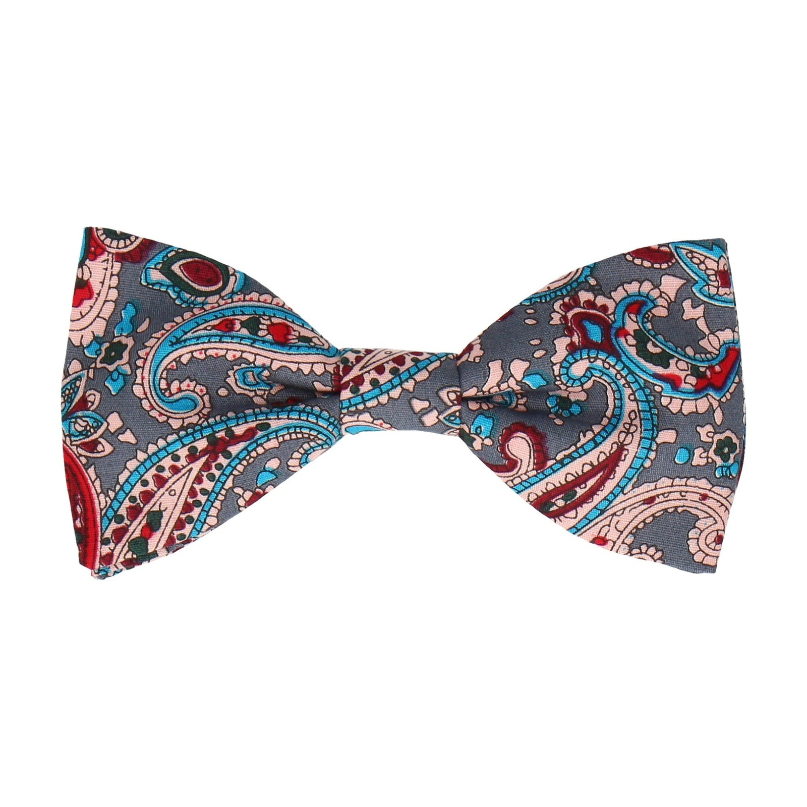 Blue Traditional Paisley Cotton Bow Tie