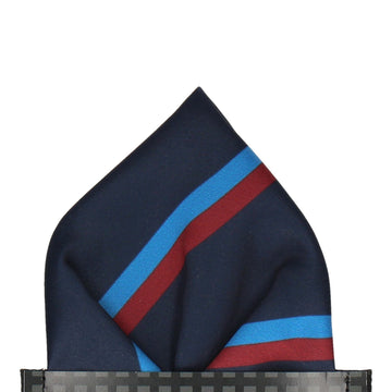 Colonel in Navy & Burgundy Pocket Square