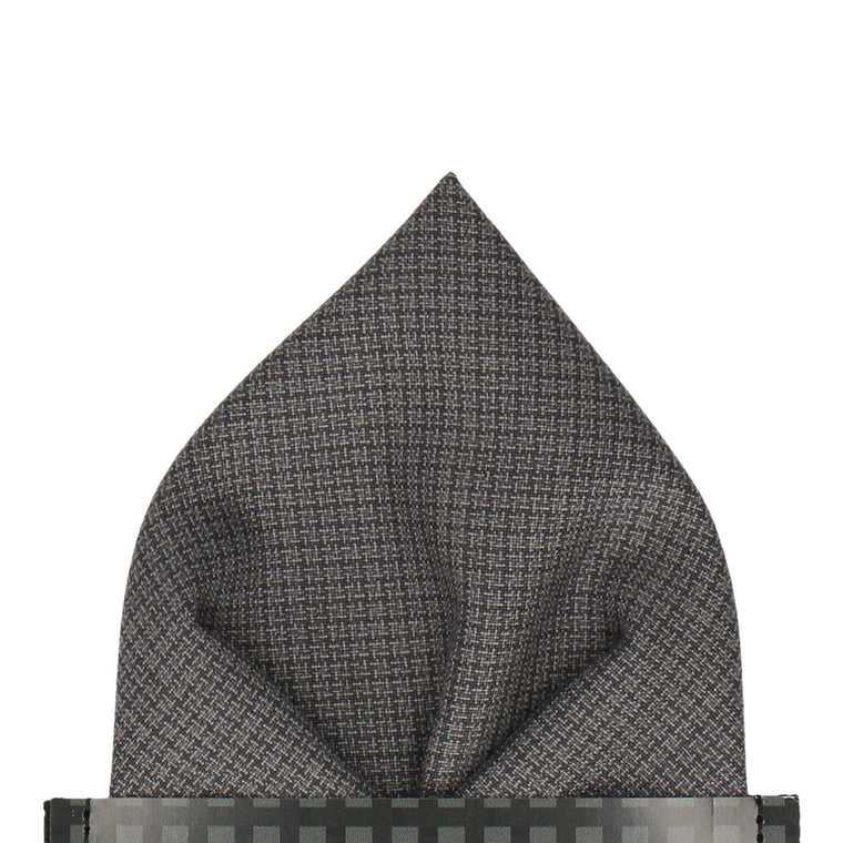 Grey Tiny Check Pocket Square