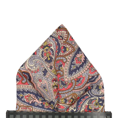 Blue & Pink Paisley Tessa Liberty Cotton Pocket Square