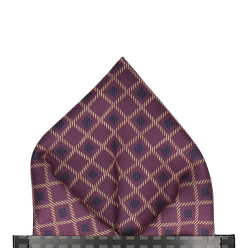 Purple Cross Weave Print Pocket Square
