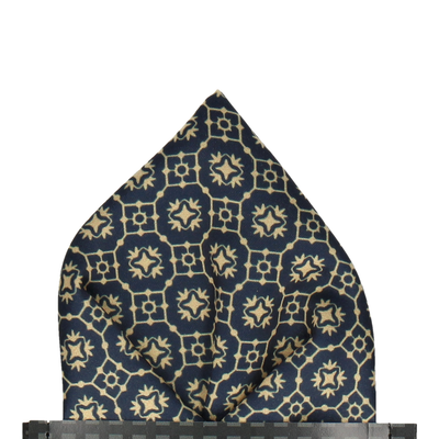 Navy & Gold Minimalist Moroccan Print Pocket Square