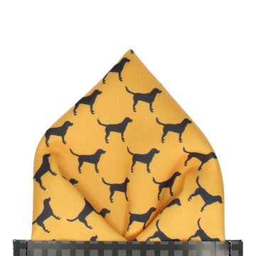 Mustard Yellow Labrador Print Pocket Square