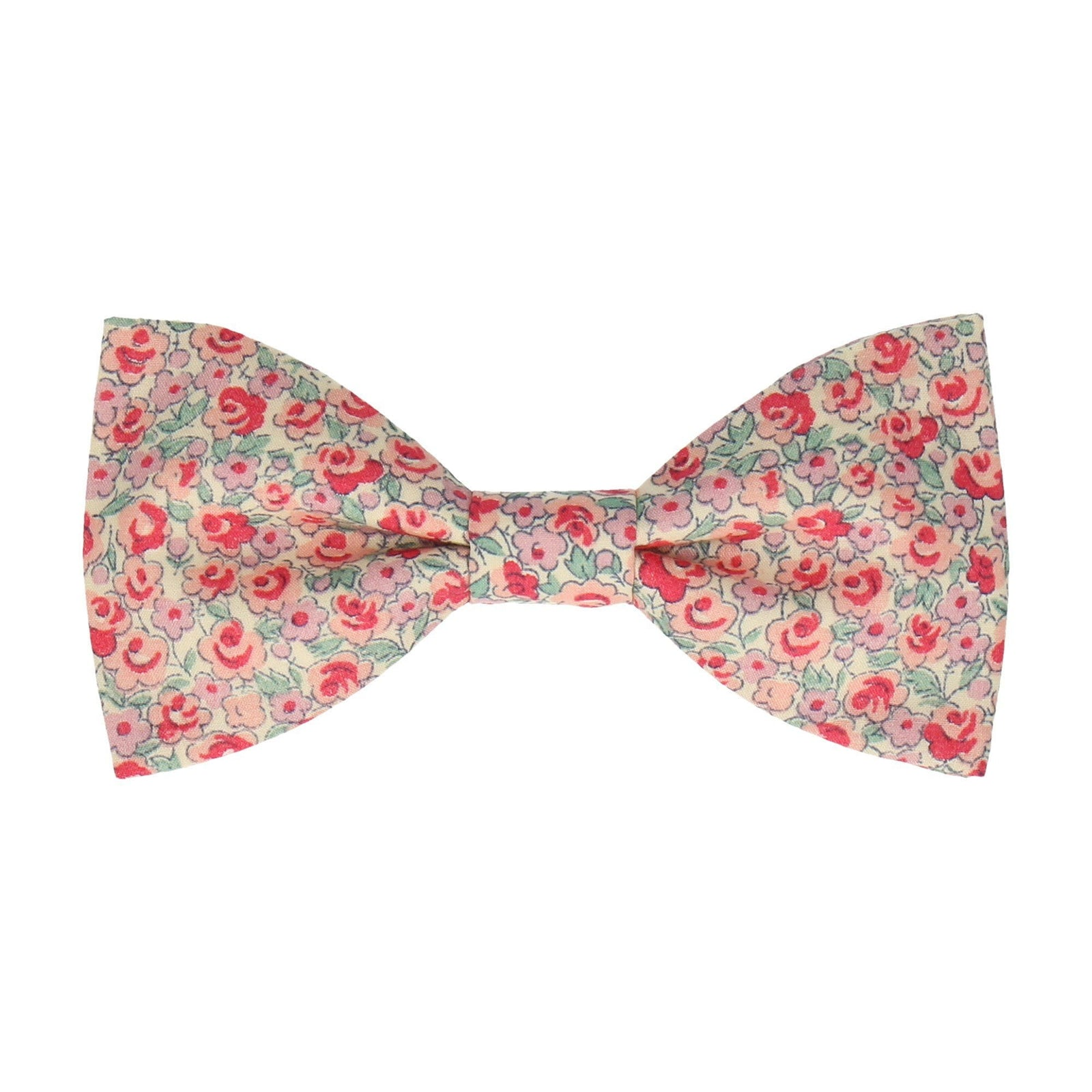 Salmon Pink Floral Bow Tie