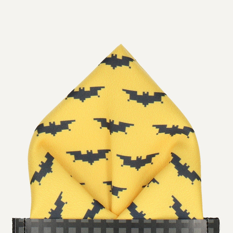 Pixel Bats in Yellow Pocket Square (Outlet)