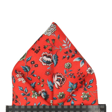 Blood Orange Floral Rousseau Liberty Pocket Square