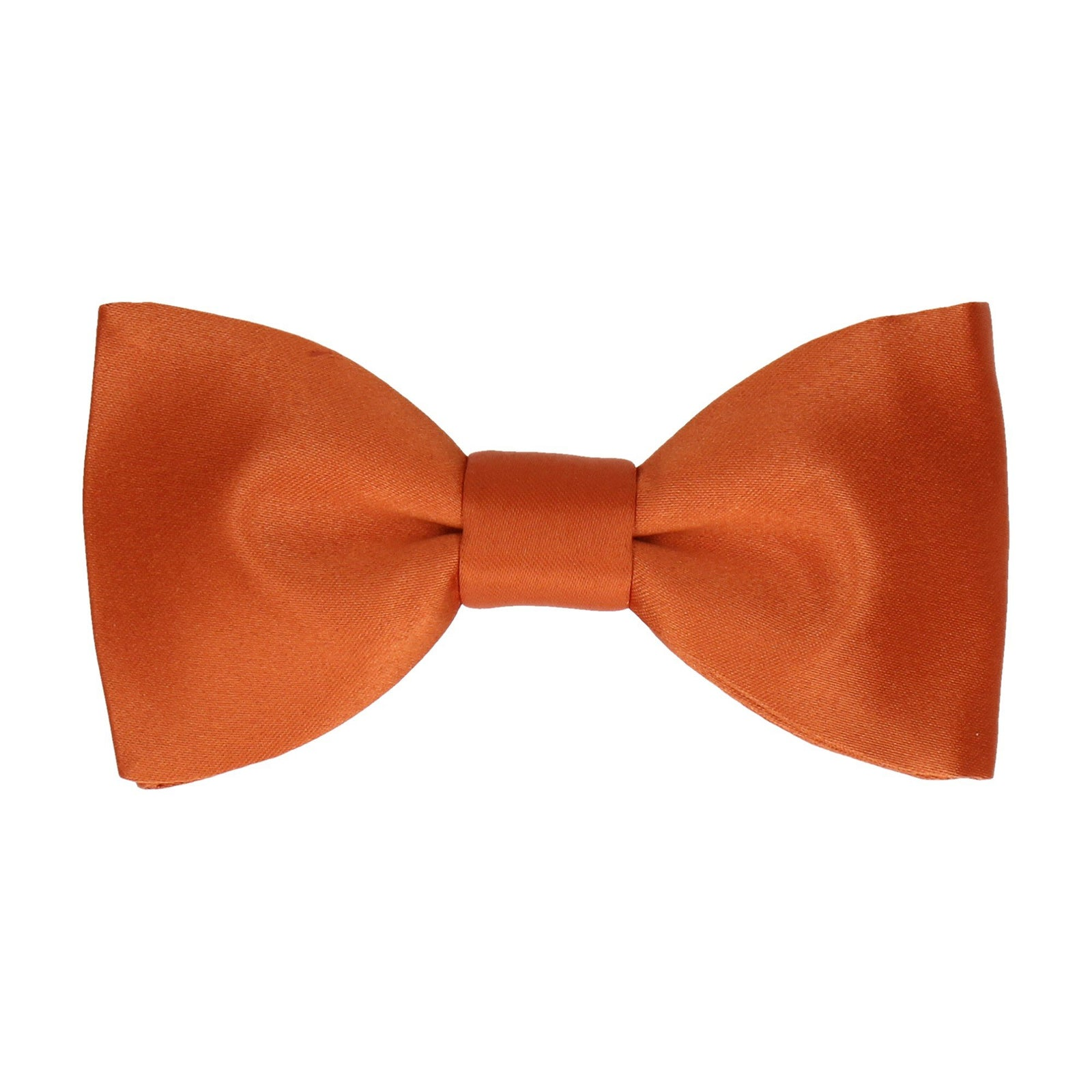 Plain Solid Copper Orange Satin Bow Tie