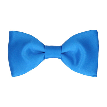 Plain Solid Azure Blue Bow Tie