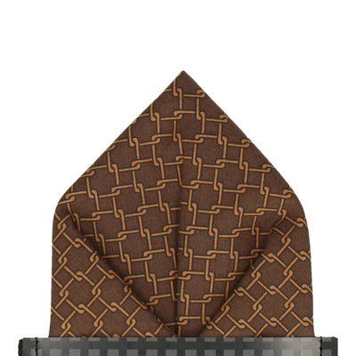 Brown Interlocked Links Cotton Pocket Square