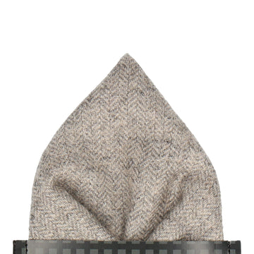 Herringbone Light Grey Textured Woollen Pocket Square