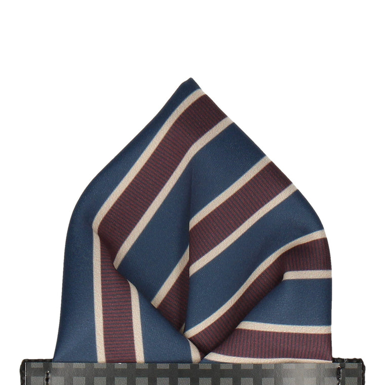 Navy Blue & Burgundy Stripe Pocket Square