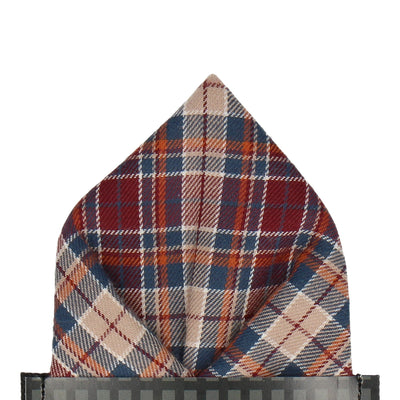 Burgundy & Beige Textured Plaid Pocket Square