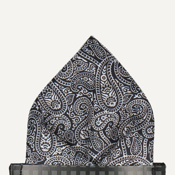 Ellington Paisley Monochrome Pocket Square (Outlet)