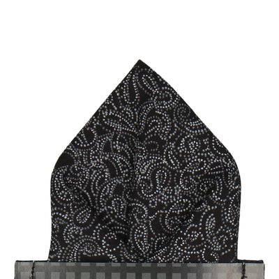 Black Cotton Minimalist Paisley Pocket Square